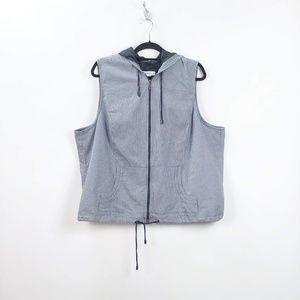 🔥CJ Banks Black White Gingham Hoodie Vest
